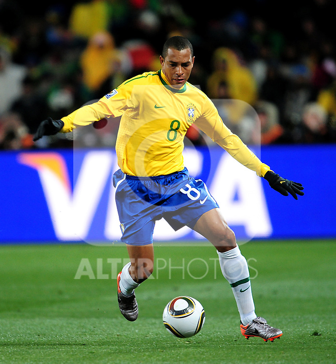 8 GILBERTO SILVA  in action during the 2010 FIFA World Cup South Africa Group G match between Brazil and North Korea at Ellis Park Stadium on June 15, 2010 in Johannesburg, South Africa.