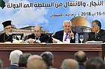 Palestinian President Mahmoud Abbas speaks during the meeting of the Palestinian Central Council in the West Bank city of Ramallah on August 15, 2018. Photo by Thaer Ganaim