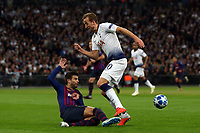 Gerard Pique of FC Barcelona and Harry Kane of Tottenham Hotspur during Tottenham Hotspur vs FC Barcelona, UEFA Champions League Football at Wembley Stadium on 3rd October 2018