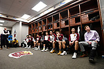 SIOUX FALLS, SD - MARCH 24: Northern State University players listen to pregame matchups prior to taking on Ferris State University during the Division II Men's Basketball Championship held at the Sanford Pentagon on March 24, 2018 in Sioux Falls, South Dakota. Ferris State University defeated Northern State University 71-69. (Photo by Tim Nwachukwu/NCAA Photos via Getty Images)