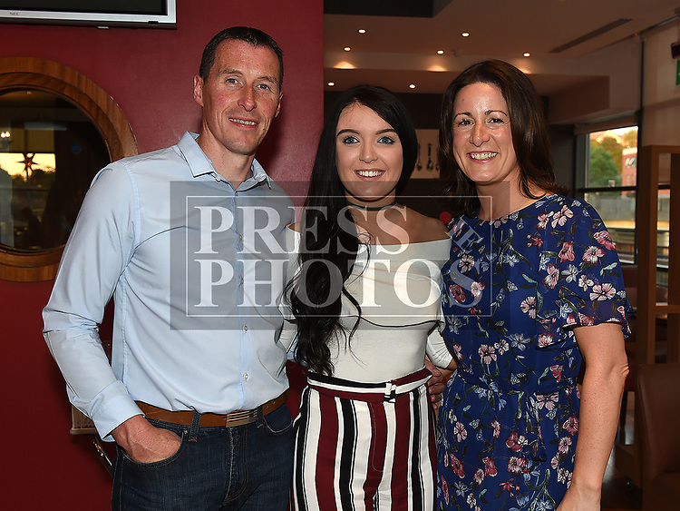 Megan Shevlin celebrating her 21st birthday in Brú with uncle and aunt Derek and Lisa Shevlin. Photo:Colin Bell/pressphotos.ie