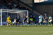 17th March 2019, Dens Park, Dundee, Scotland; Ladbrokes Premiership football, Dundee versus Celtic; Odsonne Edouard of Celtic scores the only goal of the game in the 96th minute