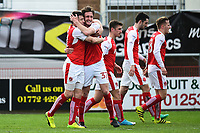 Fleetwood Town&rsquo;s Ben Davies celebrates scoring his sides first goal with Bobby Grant (L)<br /> <br /> Photographer Richard Martin-Roberts/CameraSport<br /> <br /> The EFL Sky Bet League One - Fleetwood Town v Millwall - Monday 17th April 2017 - Highbury Stadium - Fleetwood<br /> <br /> World Copyright &copy; 2017 CameraSport. All rights reserved. 43 Linden Ave. Countesthorpe. Leicester. England. LE8 5PG - Tel: +44 (0) 116 277 4147 - admin@camerasport.com - www.camerasport.com
