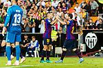 Lionel Messi of FC Barcelona (R) celebrating his score during their La Liga 2018-19 match between Valencia CF and FC Barcelona at Estadio de Mestalla on October 07 2018 in Valencia, Spain. Photo by Maria Jose Segovia Carmona / Power Sport Images