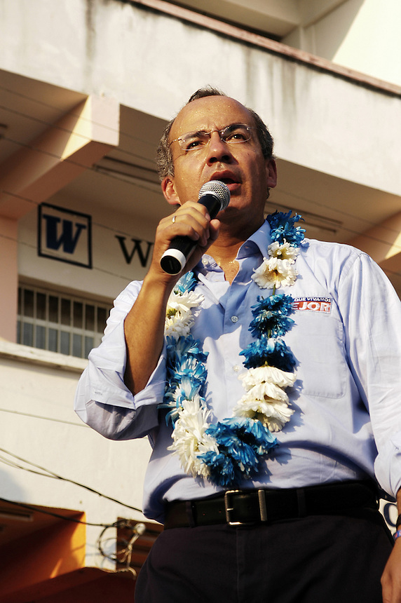 Felipe Calderon, presidential nominee for the PAN party, on the campaign trail in Tonala, Chiapas.