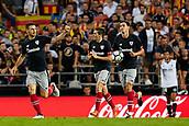 1st October 2017, Mestalla, Valencia, Spain; La Liga football, Valencia CF versus Athletic Bilbao; Aritz Aduriz (L) Zubeldia of Athletic Club de Bilbao celebrates after scoring in the 58th minute to make it 2-1