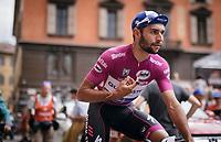 'Maglia Ciclamino' &amp; tripple stage winner so far Fernando Gaviria (COL/Quick-Step Floors) on his way to sign-in<br /> <br /> 100th Giro d'Italia 2017<br /> Stage 13: Reggio Emilia &rsaquo; Tortona (167km)
