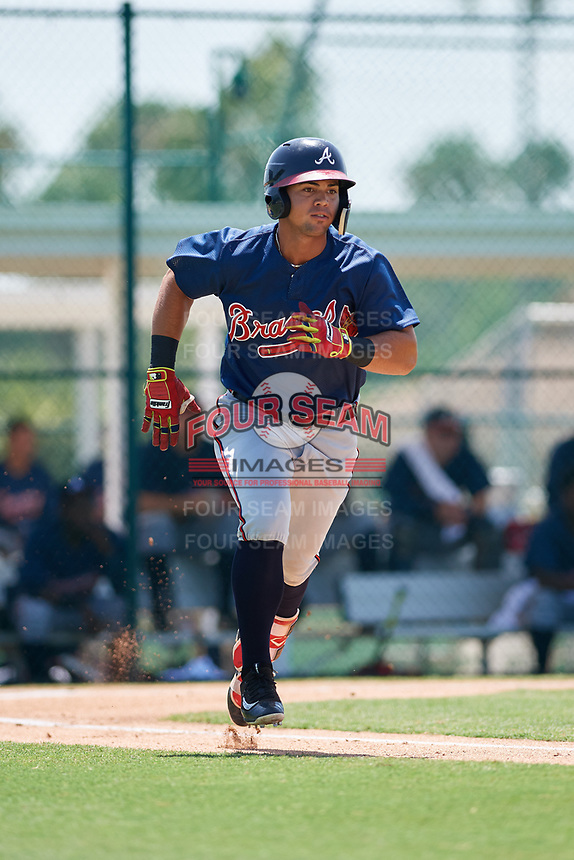 GCL Braves left fielder Jefrey Ramos (22) runs to first base during a game against the GCL Pirates on July 26, 2017 at Pirate City in Bradenton, Florida.  GCL Braves defeated the GCL Pirates 12-5.  (Mike Janes/Four Seam Images)