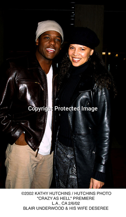 """©2002 KATHY HUTCHINS / HUTCHINS PHOTO.""""CRAZY AS HELL"""" PREMIERE.L.A., CA 2/6/02.BLAIR UNDERWOOD & HIS WIFE DESEREE"""