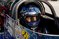 Sept. 5, 2010; Clermont, IN, USA; NHRA top fuel dragster driver Brandon Bernstein during qualifying for the U.S. Nationals at O'Reilly Raceway Park at Indianapolis. Mandatory Credit: Mark J. Rebilas-