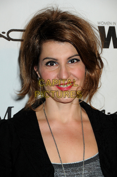 NIA VARDALOS .3rd Annual Women In Film Pre-Oscar Party held at a Private Residence in Beverly Hills, California, USA, .4th March 2010..portrait headshot smiling red lipstick make-up earrings dangly  black jacket grey gray  silver necklace .CAP/ADM/BP.©Byron Purvis/AdMedia/Capital Pictures.