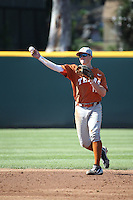 Travis Jones (11) of the Texas Longhorns makes a throw during a game against the UCLA Bruins at Jackie Robinson Stadium on March 12, 2016 in Los Angeles, California. UCLA defeated Texas, 5-4. (Larry Goren/Four Seam Images)