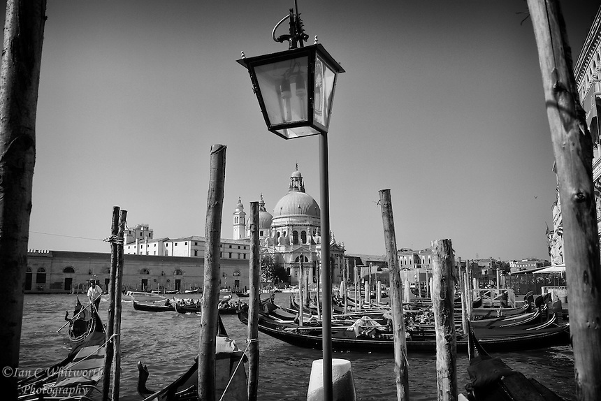 A Venice scene in black and white