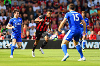 Joshua King of AFC Bournemouth runs between Harry Maguire of Leicester City and Ben Chilwell of Leicester City during AFC Bournemouth vs Leicester City, Premier League Football at the Vitality Stadium on 15th September 2018