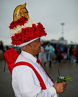 LOUISVILLE, KY - MAY 05: A man wears a fancy hat adorned with a wooden horse on Kentucky Derby Day at Churchill Downs on May 5, 2018 in Louisville, Kentucky. (Photo by Scott Serio/Eclipse Sportswire/Getty Images)