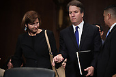 Supreme Court nominee Judge Brett Kavanaugh (R) arrives with his wife Ashley to testify before the US Senate Judiciary Committee on Capitol Hill in Washington, DC, September 27, 2018. <br /> Kavanaugh was to testify in front of the panel next on Thursday afternoon, having stridently rejected the allegations of sexual abuse by Blasey Ford and two other women in prepared remarks. / POOL / SAUL LOEB