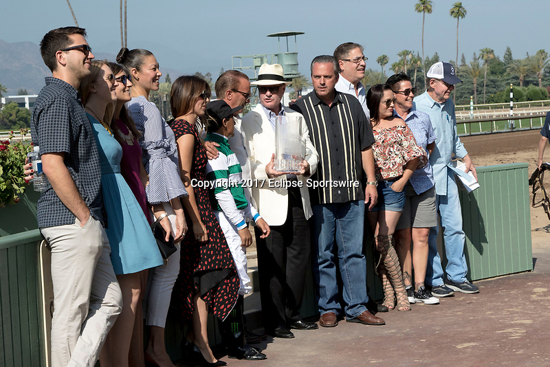 ARCADIA, CA. JUNE 3: Trainer Richard Mandella presents the Beholder Mile to the connections of #2 Stellar Wind after winning the inaugural Beholder Mile on June 3, 2017 at Santa Anita Park, in Arcadia, CA.(Photo by Casey Phillips/Eclipse Sportswire/Getty Images)
