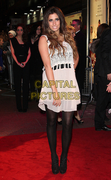 STACEY SOLOMON .UK Premiere of 'Morning Glory' at the Empire, Leicester Square, London - January 11th 2011..full length hand on hip black tights white sleeveless dress shoes  lace crochet cream .CAP/ROS.©Steve Ross/Capital Pictures