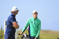 Neil Manchip (National Coach) and Tiernan McLarnon from Ireland on the 2nd tee during Round 1 Singles of the Men's Home Internationals 2018 at Conwy Golf Club, Conwy, Wales on Wednesday 12th September 2018.<br /> Picture: Thos Caffrey / Golffile<br /> <br /> All photo usage must carry mandatory copyright credit (&copy; Golffile | Thos Caffrey)