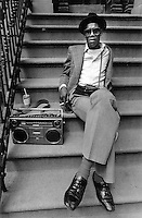 New York, NY Circa 1978 Man sitting on a stoop with a boombox.