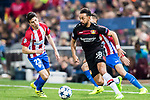 Karim Bellarabi of Bayer 04 Leverkusen fights for the ball with Nicolas Gaitan of Atletico de Madrid during their 2016-17 UEFA Champions League Round of 16 second leg match between Atletico de Madrid and Bayer 04 Leverkusen at the Estadio Vicente Calderon on 15 March 2017 in Madrid, Spain. Photo by Diego Gonzalez Souto / Power Sport Images