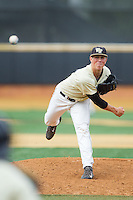 Wake Forest Demon Deacons relief pitcher Parker Dunshee (36) delivers a pitch to the plate against the Virginia Cavaliers at Wake Forest Baseball Park on May 17, 2014 in Winston-Salem, North Carolina.  The Demon Deacons defeated the Cavaliers 4-3.  (Brian Westerholt/Four Seam Images)