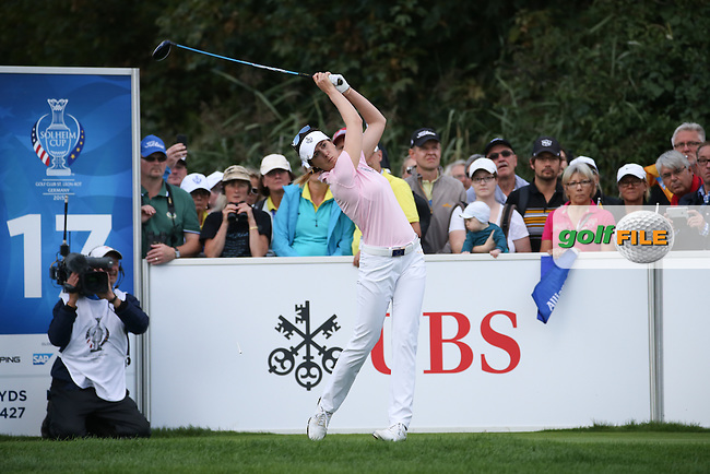 Sandra Gal (GER) on the 17th tee during Saturday morning's Foursomes, at The Solheim Cup 2015 played at Golf Club St. Leon-Rot, Mannheim, Germany.  19/09/2015. Picture: Golffile | David Lloyd<br /> <br /> All photos usage must carry mandatory copyright credit (&copy; Golffile | David Lloyd)