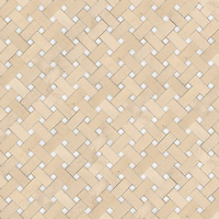 Basketweave 3 x 6 cm, a hand-cut stone mosaic, shown in honed Saint Richard and Thassos.