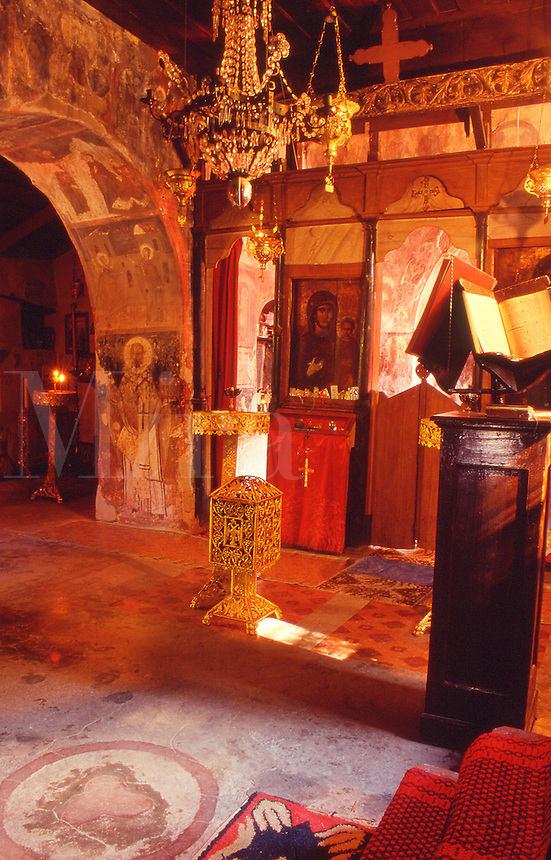 GreeceLesvos  Interior of the Orthodox church of Moni Perivolis