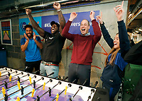 05/02/2020 - Prince William Duke of Cambridge, reacts as his team win a table football match during the launch of the Heads Up Weekends, in London. The prince who is President of the Football Association (FA), attended a special event in London to launch The Heads Up Weekends, which will see every football team from all the leagues dedicate their matches to Heads Up, to highlight the importance of talking about mental health. Photo Credit: ALPR/AdMedia