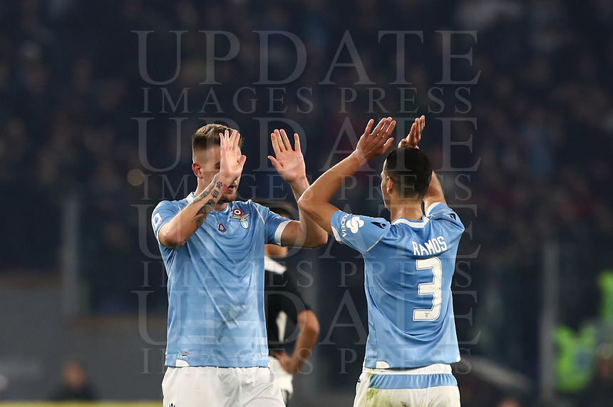 Football, Serie A: S.S. Lazio - Juventus Olympic stadium, Rome, December 7, 2019. <br /> Lazio's Sergej Milinkovic-Savic (r) celebrates after scoring with his teammate Luis Felipe (l) during the Italian Serie A football match between S.S. Lazio and Juventus at Rome's Olympic stadium, Rome on December 7, 2019.<br /> UPDATE IMAGES PRESS/Isabella Bonotto