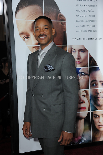 www.acepixs.com<br /> December 12, 2016  New York City<br /> <br /> Will Smith attending the 'Collateral Beauty' World Premiere at Frederick P. Rose Hall, Jazz at Lincoln Center on December 12, 2016 in New York City.<br /> <br /> <br /> Credit: Kristin Callahan/ACE Pictures<br /> <br /> Tel: 646 769 0430<br /> Email: info@acepixs.com