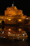Castle San Angelo at night with Tour Boat Castel sant'Angelo Mausoleum of Hadrian 139 AD Ponte sant'Angelo Rome