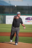 Roger Clemens, an 11-time All-Star, two-time World Series champion and seven time Cy Young Award winner participates in Opening Day and first pitch festivities as the Ogden Raptors faced off against the Orem Owlz in Pioneer League action at Home of the Owlz on June 20, 2015 in Provo, Utah.  The Raptors defeated the Owlz 9-6.  (Stephen Smith/Four Seam Images)