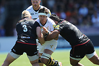 Guy Thompson of Wasps is tackled by Vincent Koch and Billy Vunipola of Saracens during the Aviva Premiership Rugby semi final match between Saracens and Wasps at Allianz Park on Saturday 19th May 2018 (Photo by Rob Munro/Stewart Communications)