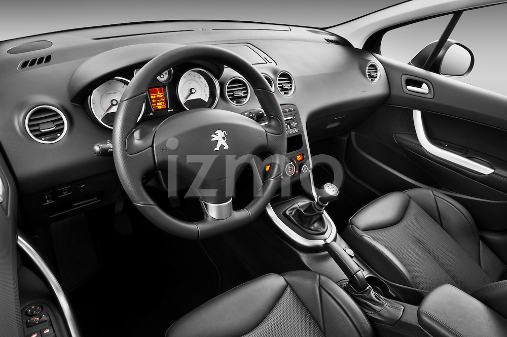 High angle dashboard view of a 2011 Peugeot 308 5 Door Hatchback