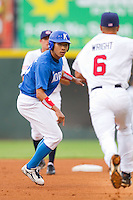 Jong-Wook Ko #31 of Team Korea is caught in a run down between second and third base against Team USA at Knights Stadium July 16, 2010, in Fort Mill, South Carolina.  Photo by Brian Westerholt / Four Seam Images