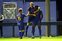 Tim Babalola of Romford scores the second goal for his team and celebrates with his team mates during Romford vs Brentwood Town, Velocity Trophy Football at the Brentwood Centre on 8th October 2019