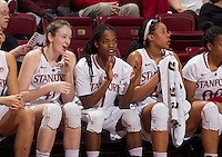 STANFORD, CA - JANUARY 16, 2015--<br /> Stanford&rsquo;s Bonnie Samuelson, Lili Thompson, and Erica McCall, during the Arizona game at Maple Pavilion.
