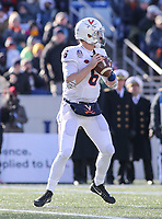 Annapolis, MD - December 28, 2017: Virginia Cavaliers quarterback Kurt Benkert (6) attempts a pass during the game between Virginia and Navy at  Navy-Marine Corps Memorial Stadium in Annapolis, MD.   (Photo by Elliott Brown/Media Images International)