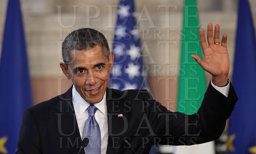 Il Presidente degli Stati Uniti Barack Obama durante la conferenza stampa congiunta col Presidente del Consiglio a Villa Madama, Roma, 27 marzo 2014.<br /> U.S President Barack Obama attends a joint press conference with the Italian Premier at Villa Madama, Rome, 27 March 2014.<br /> UPDATE IMAGES PRESS/Isabella Bonotto