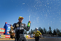 Aug. 4, 2013; Kent, WA, USA: NHRA pro stock driver Vincent Nobile celebrates after winning the Northwest Nationals at Pacific Raceways. Mandatory Credit: Mark J. Rebilas-USA TODAY Sports