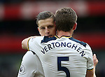 Tottenham's Kevin Wimmer hugs Jan Vertonghen at the final whistle during the Premier League match at the Emirates Stadium, London. Picture date November 6th, 2016 Pic David Klein/Sportimage