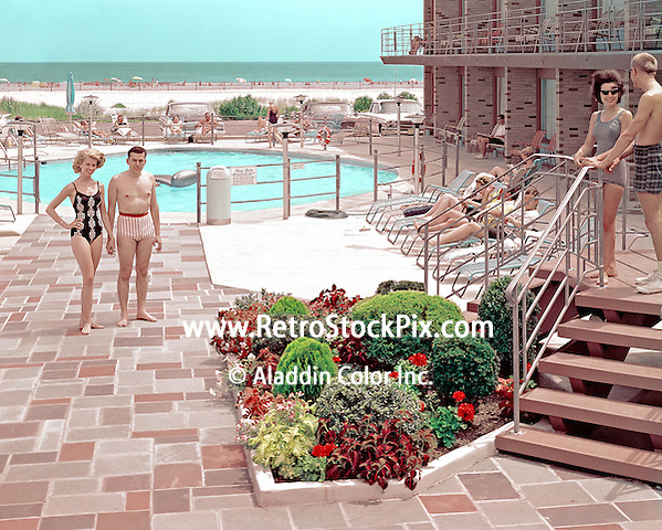 Cavalier Motel, Wildwood, NJ pool picture. Approx. date of this picture is 1960.