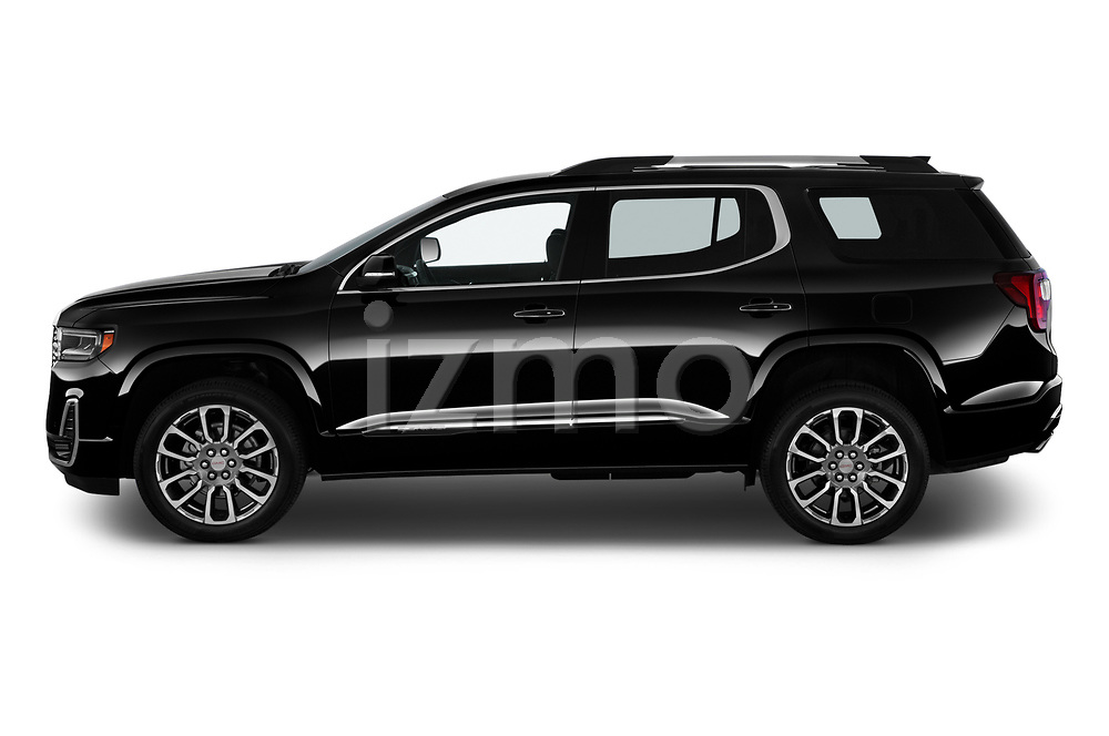 Car Driver side profile view of a 2020 GMC Acadia Denali 5 Door SUV Side View