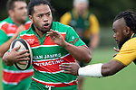 Tevita Halafihi prepares to fend off Rupeni Vosayaco. Counties Manukau Premier Club rugby game between Pukekohe and Waiuku, played at Colin Lawrie Fields, Pukekohe on Saturday April 14th, 2018. Pukekohe won the game 35 - 19 after leading 9 - 7 at halftime.<br /> Pukekohe Mitre 10 Mega -Joshua Baverstock, Sione Fifita 3 tries, Cody White 3 conversions, Cody White 3 penalties.<br /> Waiuku Brian James Contracting - Lemeki Tulele, Nathan Millar, Tevta Halafihi tries,  Christian Walker 2 conversions.<br /> Photo by Richard Spranger