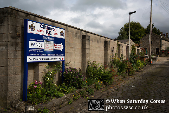 Clitheroe 0 Consett 1, 20/08/2016. Shawbridge, Northern Premier League Division One North. An advertising sign, pictured before Clitheroe played Consett at Shawbridge in an FA Cup preliminary round tie. Northern Premier League division one north team Clitheroe were formed in 1877 and have played at the same ground since. Visitors Consett, from the Northern League division one, won the match 1-0, watched by 207 spectators. Photo by Colin McPherson.