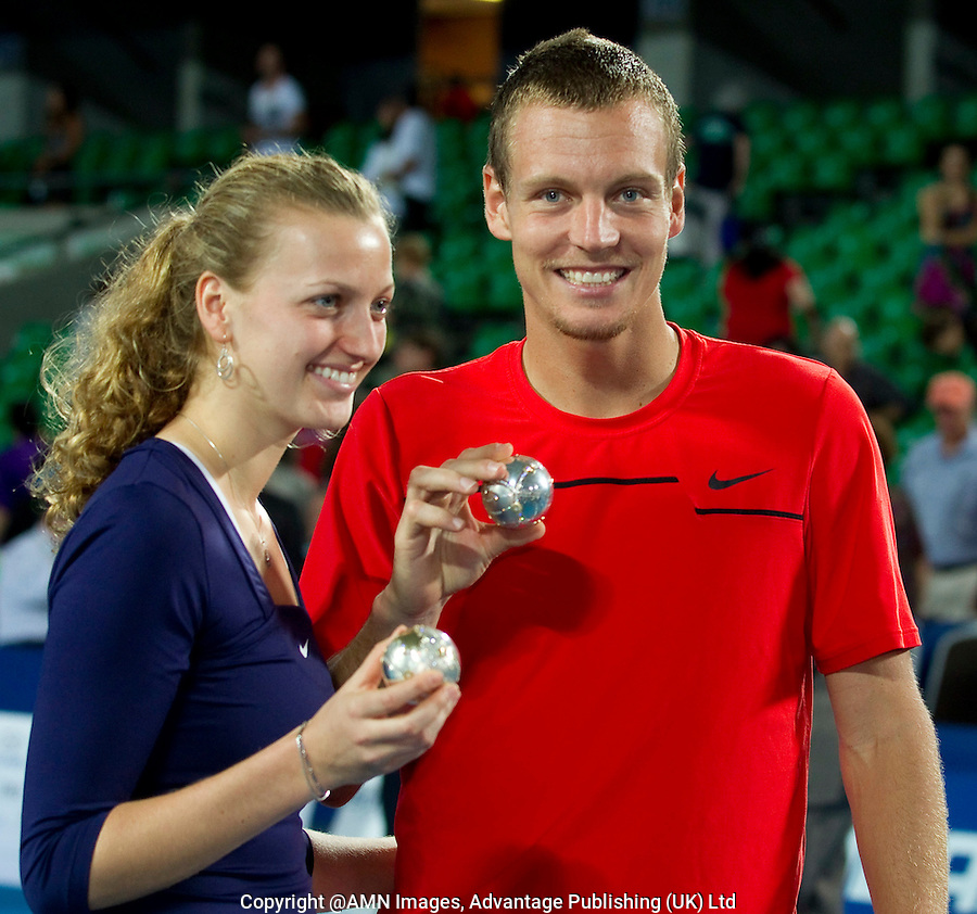 PETRA KVITOVA (CZE) and TOMAS BERDYCH (CZE) with the Hopman Cup Trophy and Diamond & Gold Tennis balls after beating  MARION BARTOLI (FRA) and RICHARD GASQUET  (FRA) in the Final of the HOPMAN CUP. Czech Republic beat France  2 rubbers to 0..07/01/2012, 7th January 2012, 04.01.2012..The HOPMAN CUP, Burswood Dome, Perth, Western Australia, Australia.@AMN IMAGES, Frey, Advantage Media Network, 30, Cleveland Street, London, W1T 4JD .Tel - +44 208 947 0100..email - mfrey@advantagemedianet.com..www.amnimages.photoshelter.com.