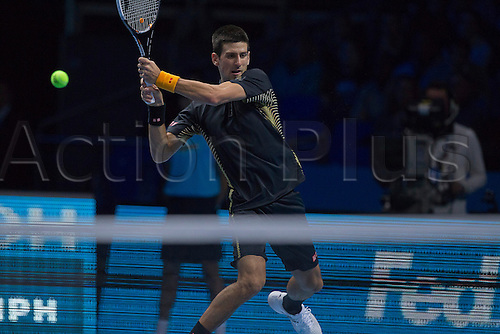 07.11.2012 London, England.  Novak Djokovic in action against Andy Murray during the Barclays ATP World Tour Finals from the 02 Arena.
