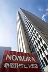August 3, 2012 - Tokyo, Japan - The Shinjuku building of Nomura Holdings Inc. is seen in downtown Tokyo. Japan regulators ordered Nomura Holdings Inc. to improve its internal security operations over the recent insider info trading scandal, after two of Nomura's top executives resigned to take responsibility for this incident. (Photo by Christopher Jue/AFLO)
